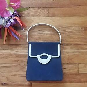 VINTAGE Blue & White Color Blocked Structured Bag